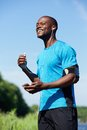 African american male runner smiling Royalty Free Stock Photo