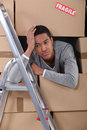 African american man moving out Stock Photo