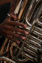 African-American Man Plays the Tuba Stock Images