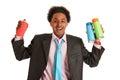 African American man spraying graffiti Royalty Free Stock Photo