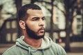 African-american man wearing hoodie outdoors