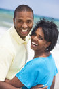 African American Man & Woman Couple on Beach Royalty Free Stock Photos