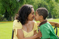 African American Mother and Son Stock Photo