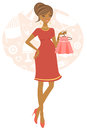 African american pregnant woman illustration of shopping for her baby Royalty Free Stock Photo