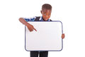 African american school boy holding a blank board black people isolated on white background Stock Image