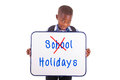 African american school boy holding a blank board black people isolated on white background Stock Photos