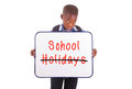 African american school boy holding a blank board black people isolated on white background Stock Photography