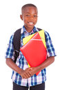 African american school boy holding folders black people isolated on white background Stock Photos