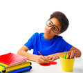 African american school boy writing message at valentines heart handsome day isolated over white background with copy Royalty Free Stock Photos