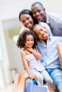 African american shopping family beautiful portrait of an Royalty Free Stock Image