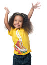 African american small girl raising her arms cute above head and laughing isolated on white Stock Photos