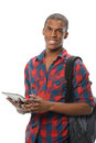 African american student using electronic pad young isolated over white background Stock Image