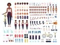 African American teenage girl animation kit or avatar. Bundle of teenager`s body parts, postures, faces, haircuts