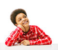 African american teenager dreaming looking up thinking isolated over white background with copy space Royalty Free Stock Images