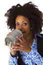African american woman with can phone isolated on white background Royalty Free Stock Photos