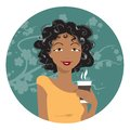 African american woman drinking coffee vector illustration Stock Images
