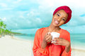 African american woman drinking tea Royalty Free Stock Photo