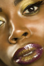 African american woman with highfashion makeup closeup portrait of an Stock Images