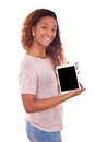 African american woman holding a tactile tablet isolated on white background Royalty Free Stock Photography
