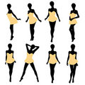 African American Woman Lingerie Silhouette Stock Photos