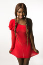 African-american woman in red slinky dress Royalty Free Stock Photo