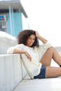 African american woman relaxing outdoors portrait of a beautiful young Stock Images