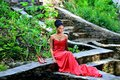 African American woman sitting in the Park posing against the backdrop of green plants on the rocks in a red dress with dreadlocks Royalty Free Stock Photo