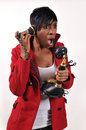 African American woman on telephone Royalty Free Stock Photography