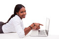 African american woman using a laptop black people isolated on white background Royalty Free Stock Photography
