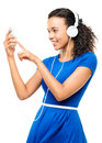 African american woman video messaging touch screen isolated beautiful mixed race Stock Image