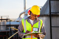 African american worker happy oil chemical industry working in plant Stock Photography