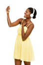 African american young woman video messaging white background smiling Royalty Free Stock Photo