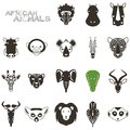 African animal black icons portrait set with flat design Royalty Free Stock Photos