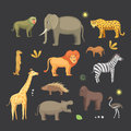African animals cartoon vector set. elephant, rhino, giraffe, cheetah, zebra, hyena, lion, hippo, crocodile, gorila and Royalty Free Stock Photo