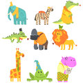 African Animals With Human Attributes And Clothing Set Of Comic Cartoon Characters