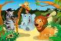 African animals in the jungle a vector illustration of a group of wild Royalty Free Stock Photography