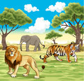 African animals in the nature vector illustration Royalty Free Stock Image