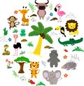 African animals roun set with trees and leaves. Vector illustration. Cartoon style