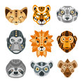 African Animals Stylized Geometric Heads Set Royalty Free Stock Photo