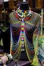 African beaded necklace on display.