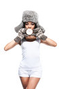 African beautiful girl in winter hat and mittens with coconut standing sexy outfit isolated over white background Stock Photography