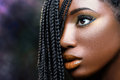 African beauty female face with braids . Royalty Free Stock Photo