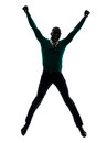 African black man jumping happy silhouette one in studio on white background Stock Photos