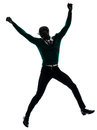 African black man jumping happy silhouette one in studio on white background Stock Photography