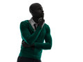African black man thinking pensive silhouette one in studio on white background Royalty Free Stock Image