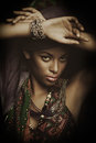 African black young woman beauty portrait with turban studio shot Royalty Free Stock Photo