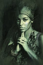 African black young woman beauty portrait with turban texture ad Royalty Free Stock Photo