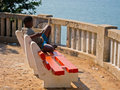African boy relaxing Stock Photo