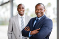 African businessman colleague cheerful standing in front of Stock Image