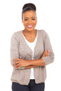 African businesswoman happy with arms crossed Royalty Free Stock Photos